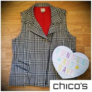 Plaid Double Breasted Chico's Zipper Vest